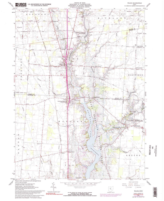 Waldo Ohio Map.Amazon Com Yellowmaps Waldo Oh Topo Map 1 24000 Scale 7 5 X 7 5