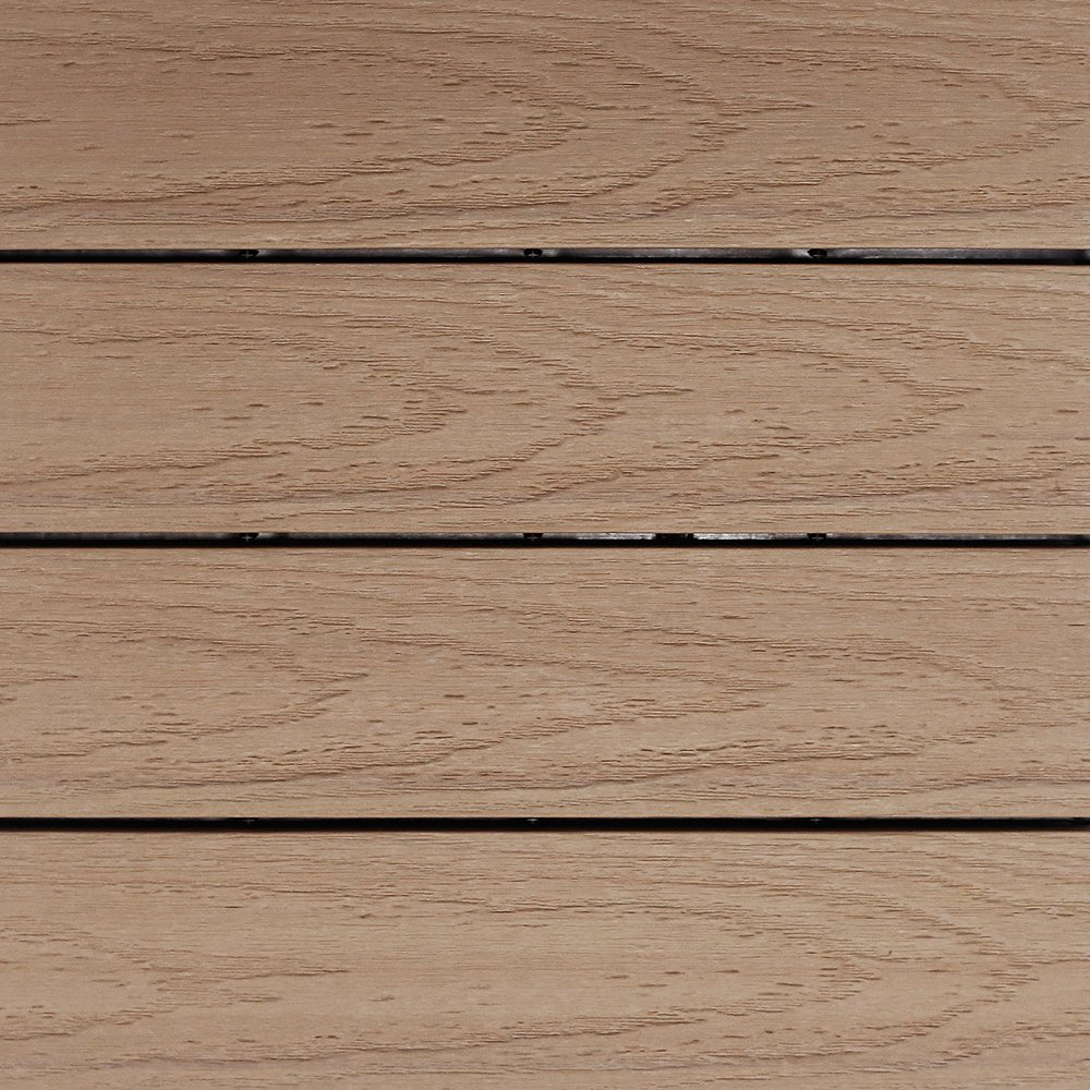 NewTechWood US-QD-ZX-MP Ultrashield Naturale Outdoor Composite Quick Deck Tile (10 Case), 1' x 1', Canadian Maple