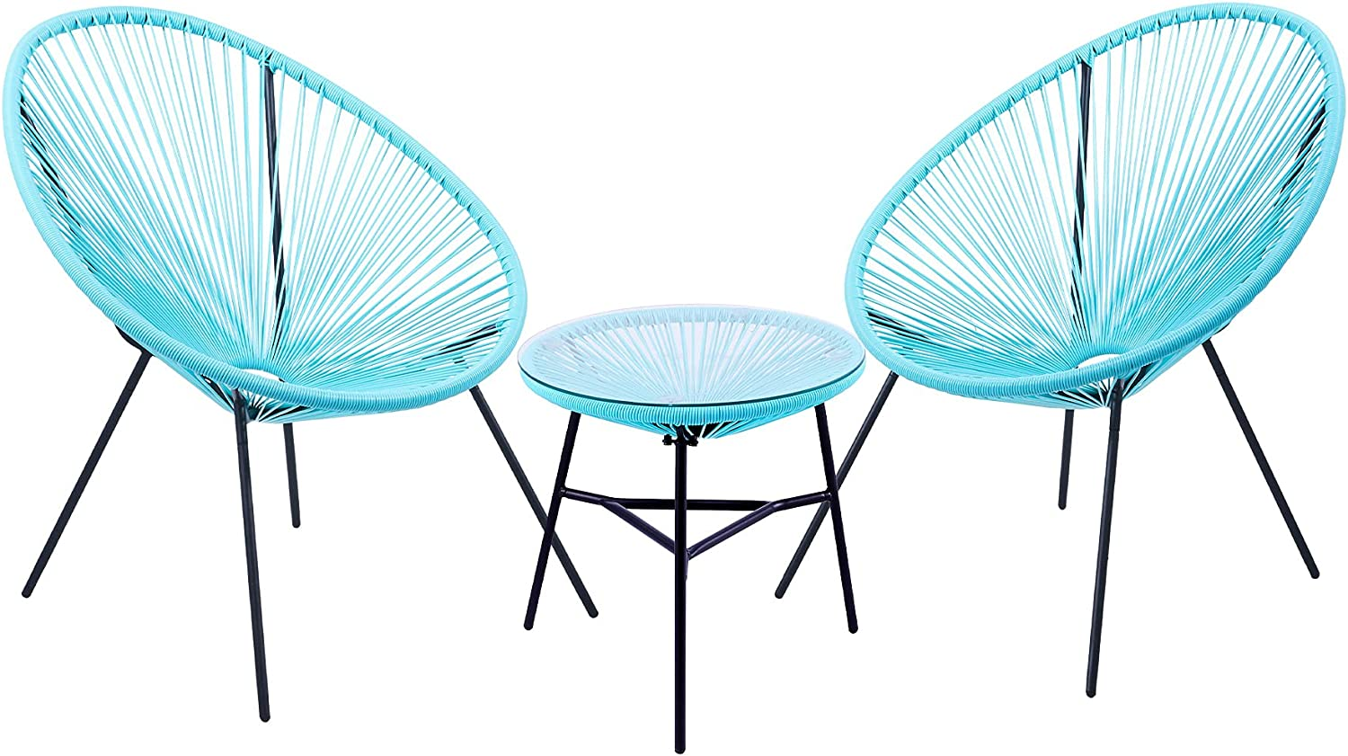 VONLUCE 3 Piece Outdoor Patio Furniture Set, Acapulco Chair Set with Glass Top Coffee Table, All Weather PE Rattan Bistro Set for Garden Poolside Balcony Patio Seating and Decor, 330lb Capacity, Blue