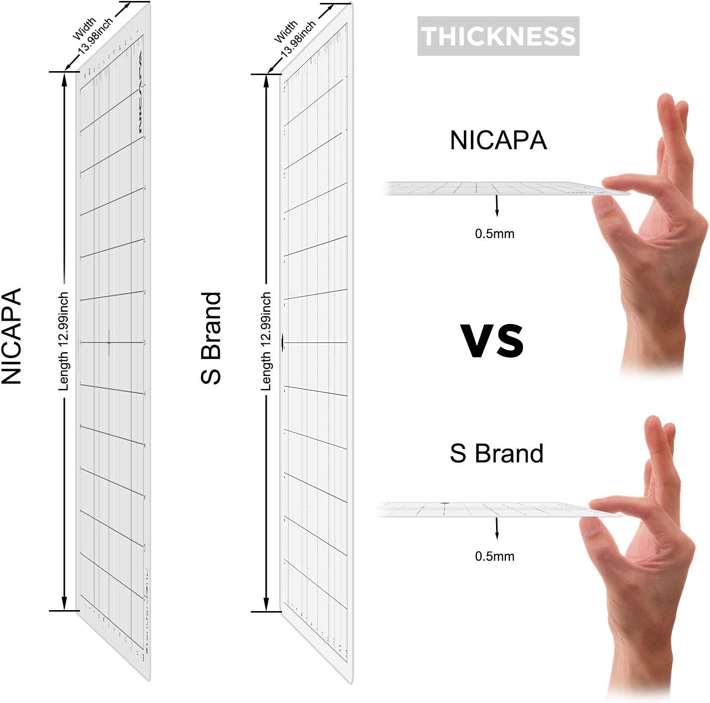 Nicapa Tapete de corte para Silhouette Cameo 3/2/1 [agarre estándar, 12 x 12 pulgadas, 3 unidades] adhesivo y pegajoso antideslizante flexible cortado a cuadros: Amazon.es: Hogar
