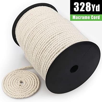 Crafts Plant Hangers XKDOUS Macrame Cord 4mm x 150Yards Knitting 3 Strand Twisted Cotton Cord for Wall Hanging Natural Cotton Macrame Rope Decorative Projects Soft Undyed Cotton Rope