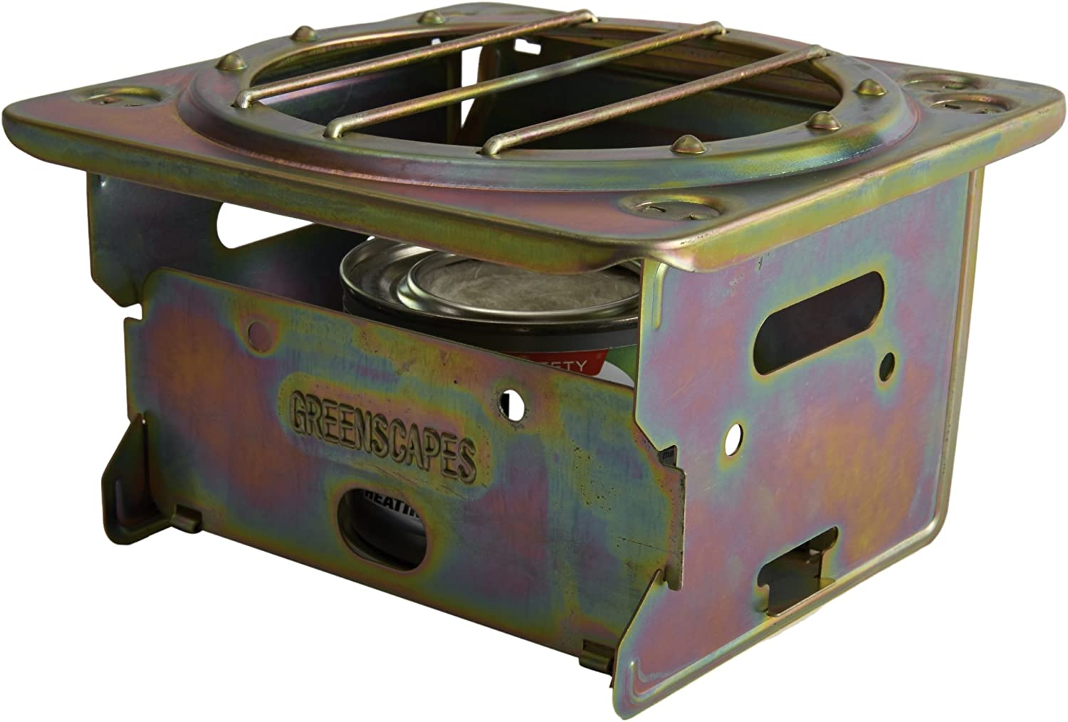 Greenscapes Portable Backpacking and Camping Stove in Bronze: Flat Surface, Foldaway