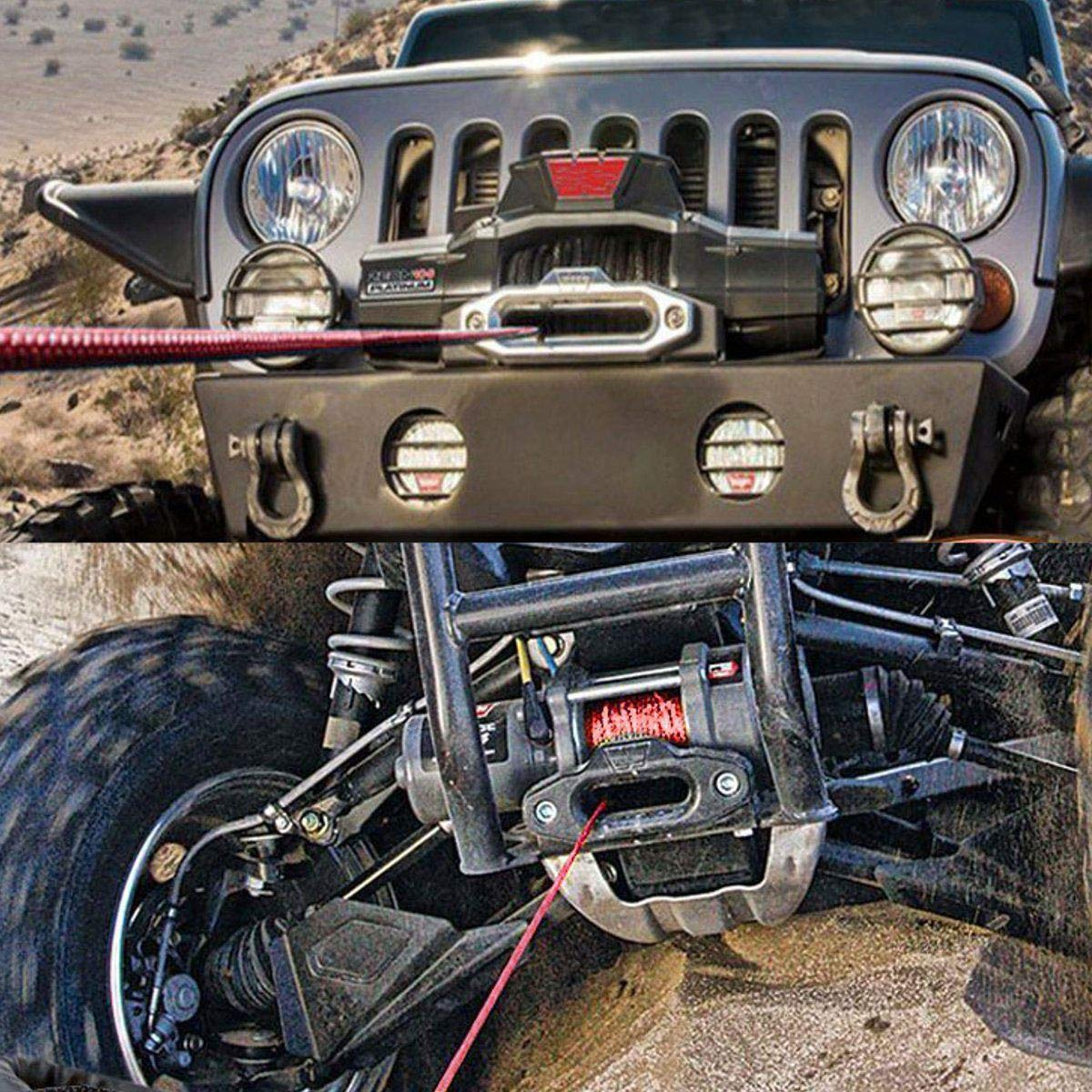 Synthetic Winch Rope Kit 5//16 x100ft Strong Durable UHMWPE Synthetic Winch Rope 12800 LBs with Sheath and Storage Bag for 4WD Off Road Vehicle ATV UTV SUV Motorcycle Blue