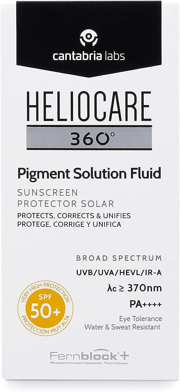 Heliocare 360° Pigment Solution Fluid SPF 50+ - Crema Solar Facial, Fotoprotector Ultraligero, Previene y Corrige Manchas, Unifica el Tono de la Piel, 50ml