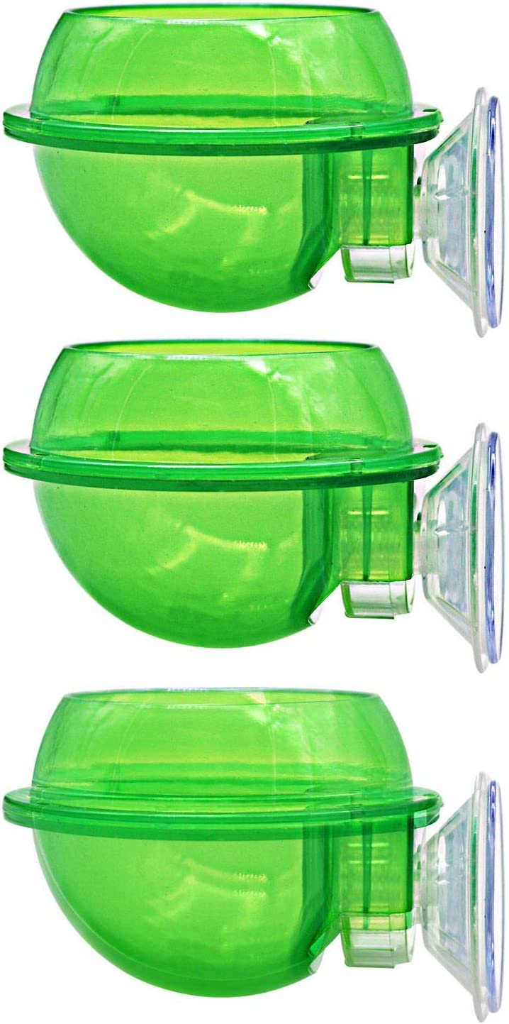 MACGOAL 3 Pieces of Reptile Suction Cup Feeder Chameleon Bowl Reptile Food and Water Bowl Dish Reptile Worm Dish Escape Proof, Suitable for Crested Gecko Tree Frog Chameleon Lizard Bearded Dragon