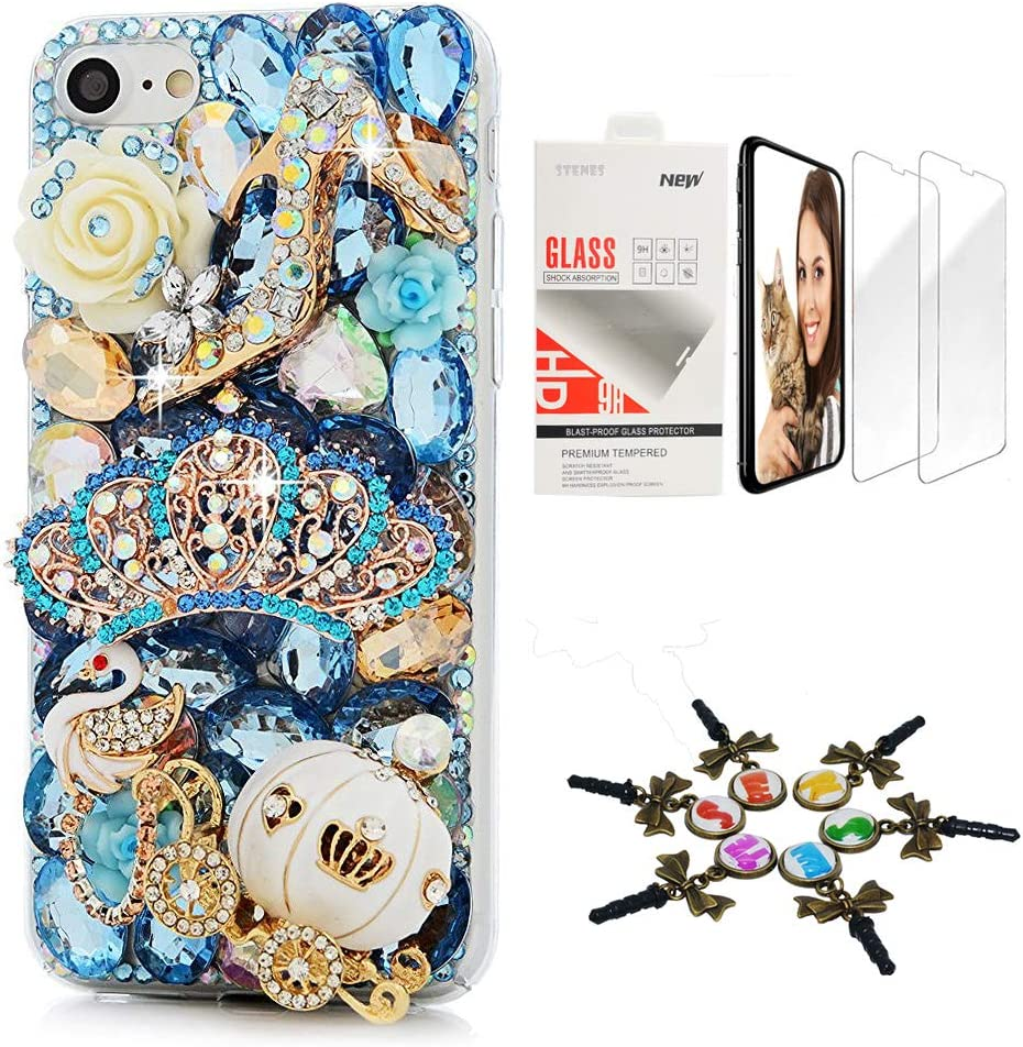 STENES Bling Case Compatible iPhone 11 Pro Max - Stylish - 3D Handmade [Sparkle Series] High Heel Crown Swan Pumpkin Flowers Design Cover with Screen Protector [2 Pack] - Blue