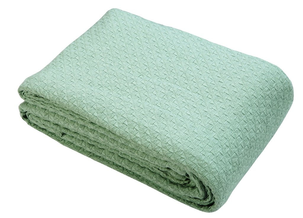 Linen Clubs Cotton Throw Blankets (TWIN 60X90 inch, Mint Green) Breathable Thermal Bed/Sofa Blanket Couch Quilt, Basket Weave Thermal Cotton Blanket,All Season cotton Blanket,cotton Bed Blanket
