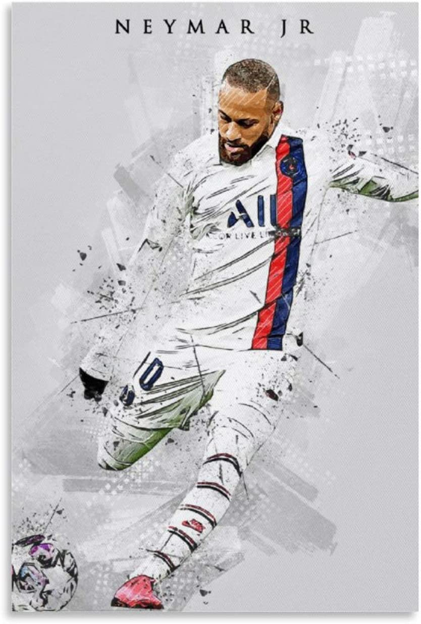 YJTG Sports Poster Superstar Soccer Football Neymar Jr 15 Poster Decorative Painting Canvas Wall Art Living Room Decor Posters Bedroom Painting 12x18inch 30x45cm