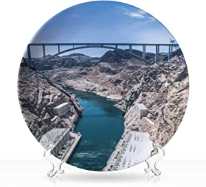 "Electricity production in the USA,Circular Shapes Plate The Hoover Dam on Colorful River and arch bridge for Home,7 inch 8""Inch"