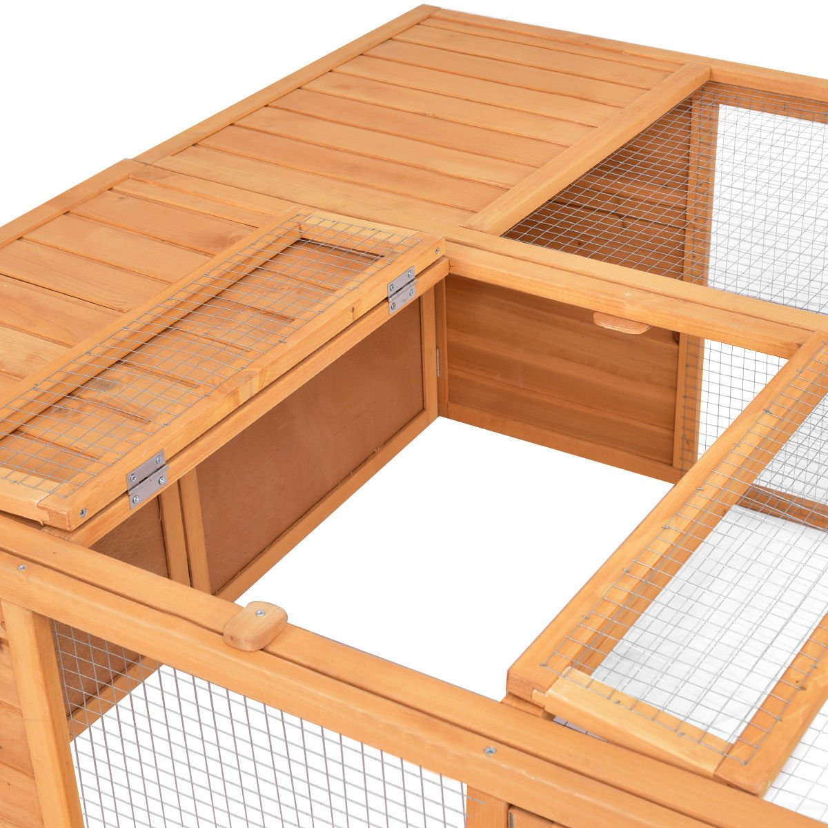 Tangkula Chicken Coop, Wooden Garden Backyard Bunny Chicken Rabbit Duck Small Animals Cage with 2 Doors,Hen House (47'') by Tangkula (Image #6)