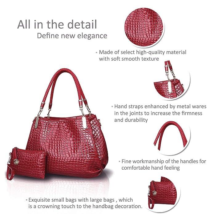 684103c6e1 Amazon.com  Nicole Doris New Crocodile Grain PU Leather Women Ladies  Shoulder Bag Handbag Crossbody Totes Large Bag Big Red  Clothing