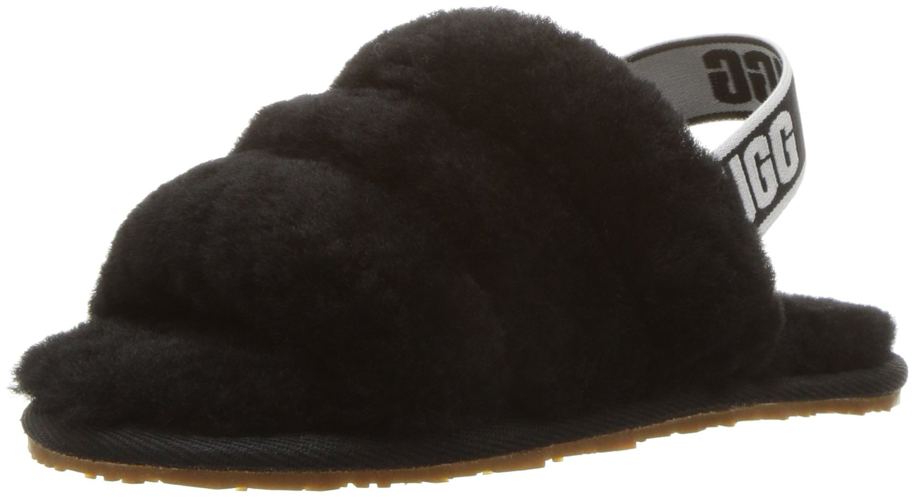 UGG Girls' T Fluff Yeah Slide Sandal, Black, 10 M US Toddler
