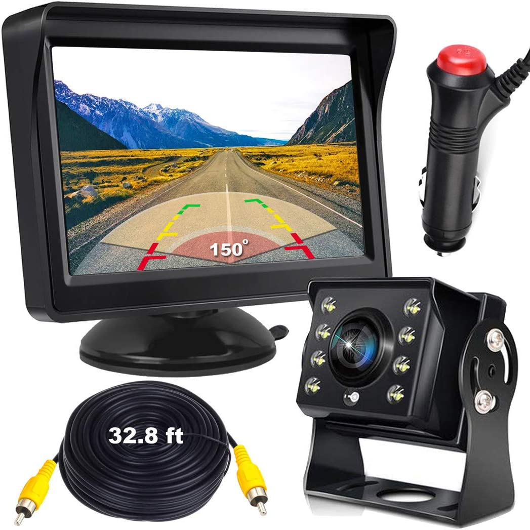 Box RV Trailer Tractor Reversing Camera Kit,5 Rear View Monitor, 8 LEDS Backup Camera with Night Vision and 150/° Wide Angle Parking Camera with 32.8 ft Cable for Vehicle Bus Truck