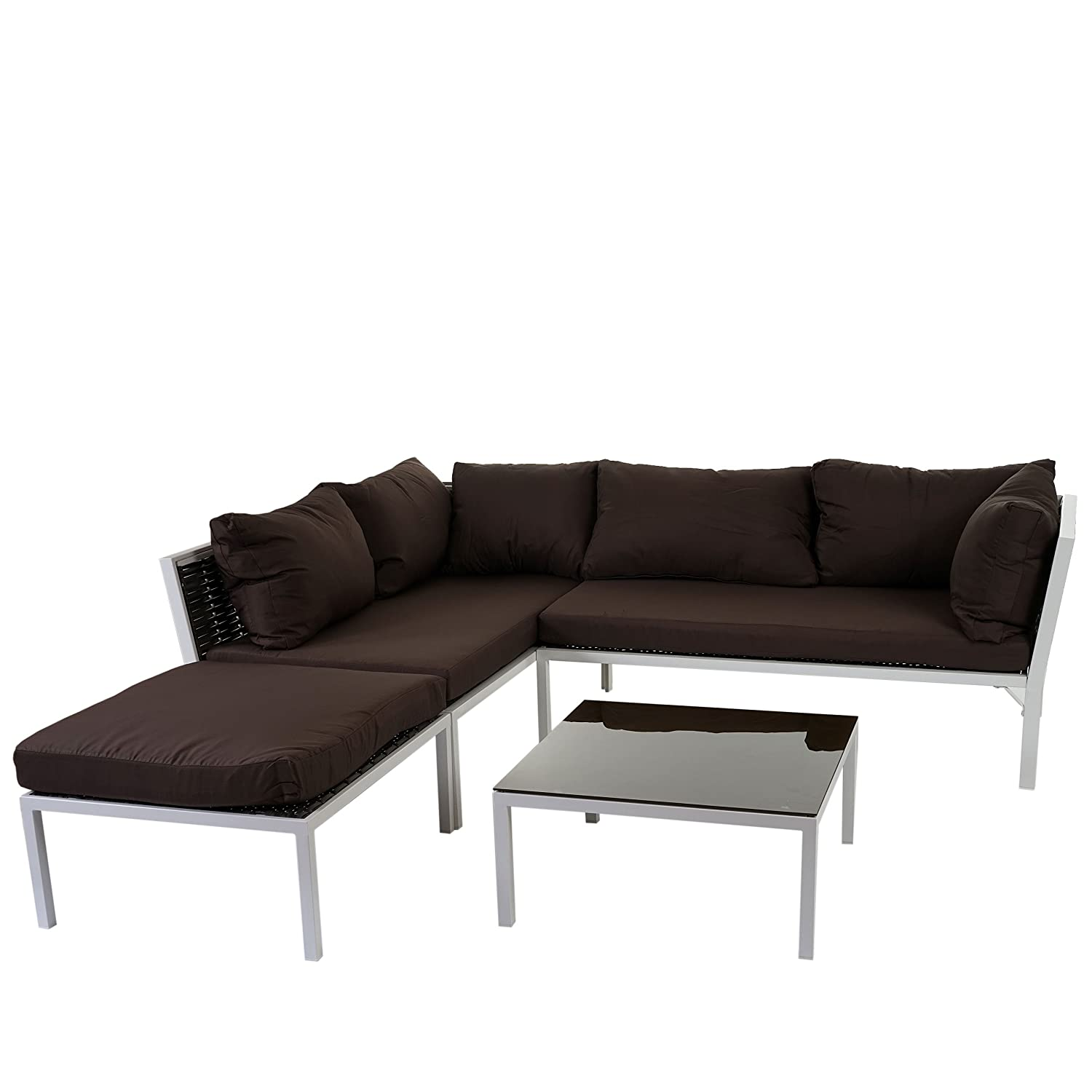 poly rattan sofa garnitur delphi sitzgruppe lounge set alu set 2 kissen braun g nstig. Black Bedroom Furniture Sets. Home Design Ideas