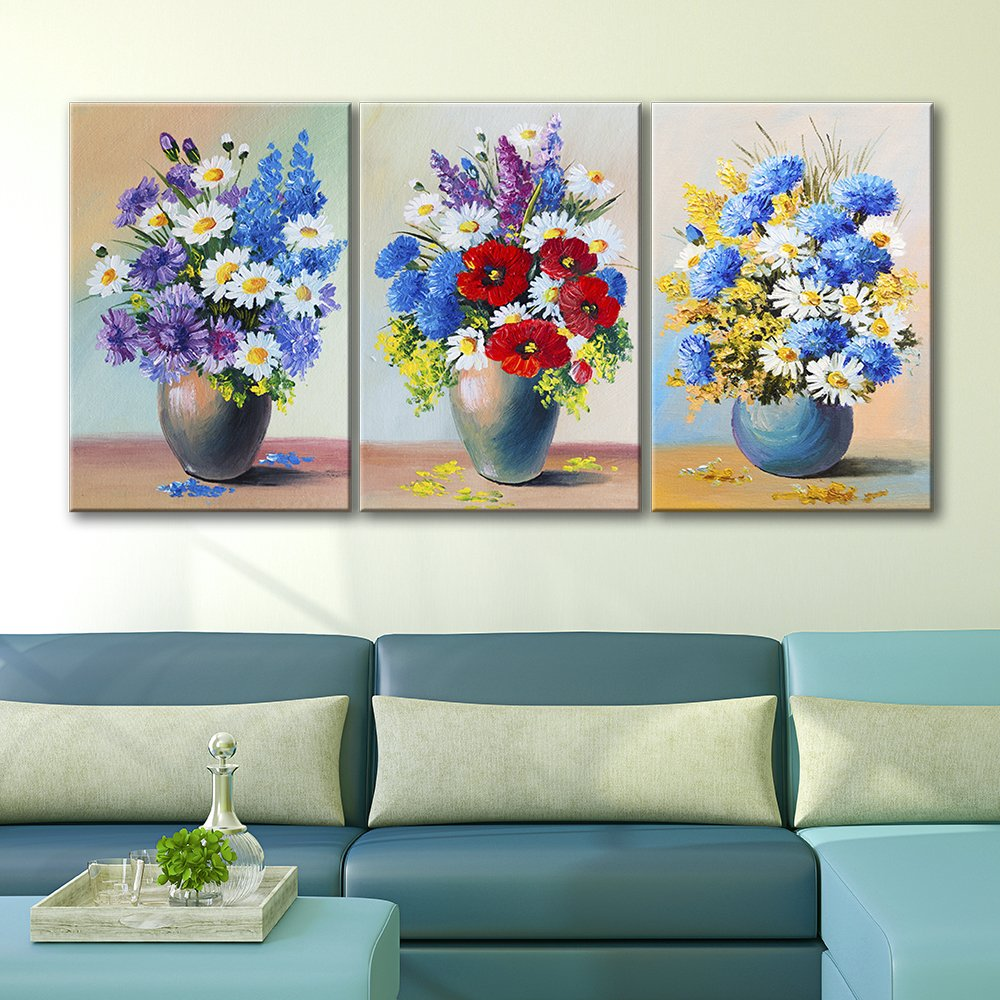 Canvas Art. 3 Panel Oil Painting Style Blue Flowers in Vases ... & 3 Panel Oil Painting Style Blue Flowers in Vases x 3 Panels - Canvas ...