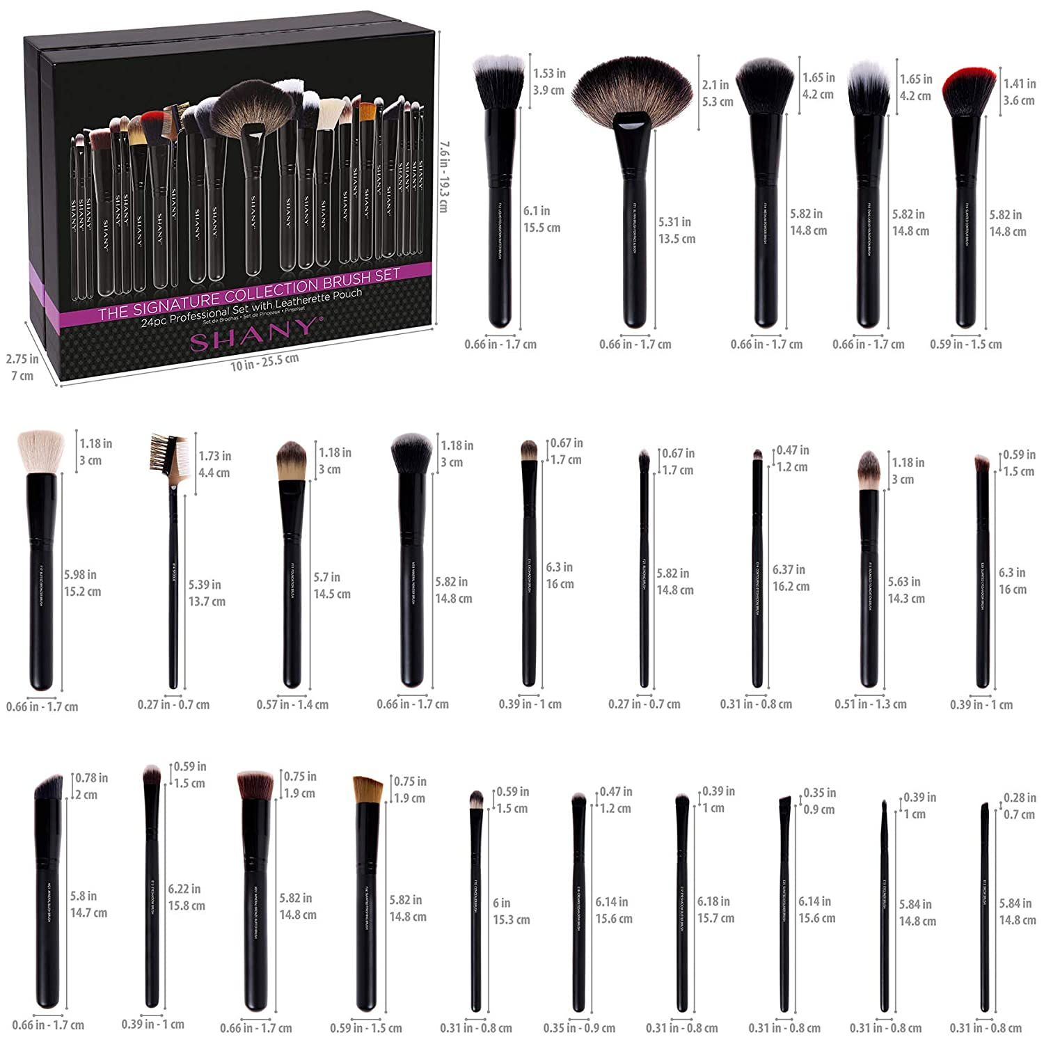 SHANY The Masterpiece Pro Signature Brush Set - 24pcs Handmade Natural/Synthetic Bristle with Wooden handle: SHANY: Beauty