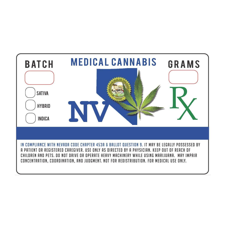 Nevada NV State Medical Marijuana Strain Cannabis Compliance Sticker Pot Labels 1.25 x 2'' (100)