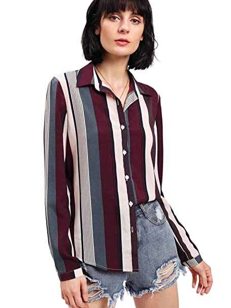31eb03e39 SheIn Women's Contrast Striped Color Block Long Sleeve Button Down Shirt  Blouse Tops at Amazon Women's Clothing store: