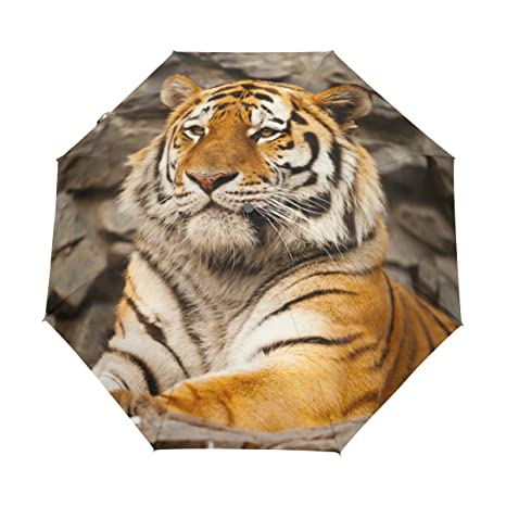 Tiger Pattern Print Lightweight UPF 50+ Anti-UV Parasol Waterproof Windproof 3 Folds Auto