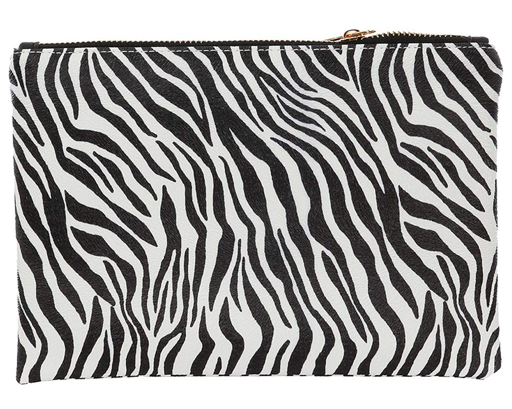 Zebra Animal Print Vinyl Clutch Cosmetic Makeup Pouch Bag Black and White