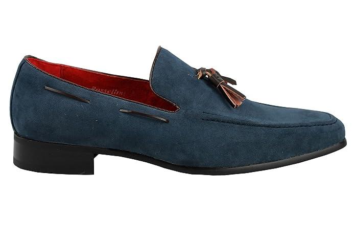 Herren-Loafer mit Quasten aus Wildleder, Lederfutter, Grau - grau - Größe: 42 2/3 EU