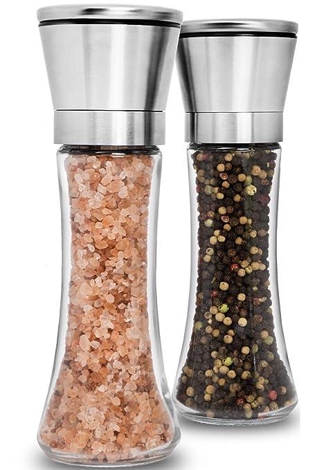 Premium Stainless Steel Salt and Pepper Grinder Set of 2 - Adjustable  Ceramic Sea Salt Grinder 5e11f75e068