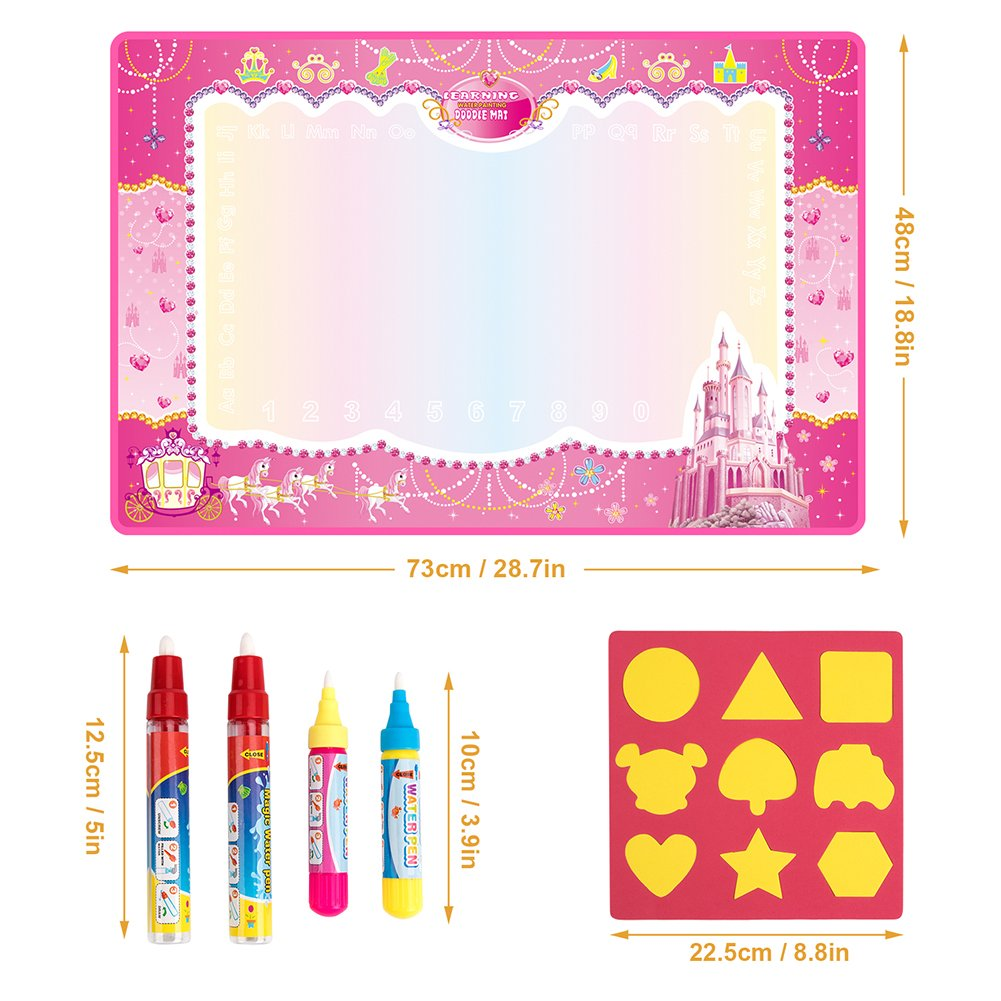 Water Doodle Mat, Water Drawing Mat Kids Toys Large Magic Toddlers Painting Board Writing Mats Scribble Boards with 4 Magic Pen and Draw Templates for Boys Girls Learning Gift Size 29 x 19 (Pink) by Vidillo (Image #5)