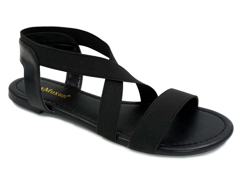 MaxMuxun Damen Elastischen Sommer Sandalen  40 EU|Schwarz