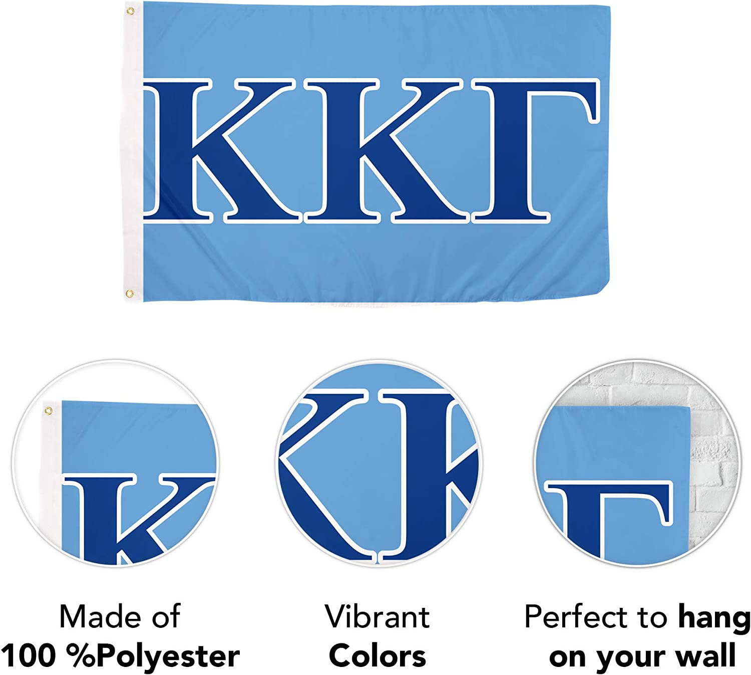 Kappa Kappa Gamma Letter Sorority Flag Greek Banner Large 3 Feet X 5 Feet Sign Decor Kkg