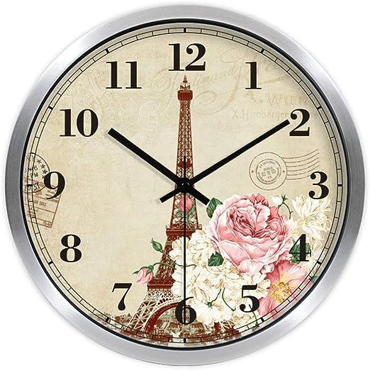 HomeClock Torre de París Reloj de jardín Rosa De Las Rosas Reloj de Pared silenciamiento Reloj de Cuarzo: Amazon.es: Hogar
