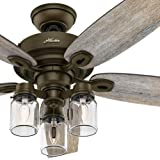 "Hunter Fan 52"" Regal Bronze Ceiling Fan includes Three-light Fitter with Clear Glass, 5 Blade (Certified Refurbished)"