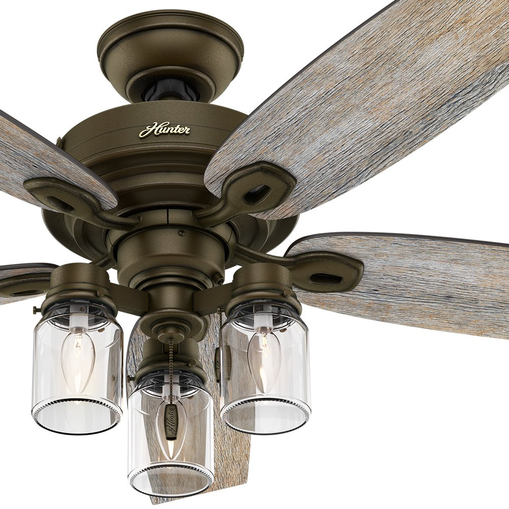 Hunter Fan 52'' Regal Bronze Ceiling Fan includes Three-light Fitter with Clear Glass, 5 Blade (Certified Refurbished)