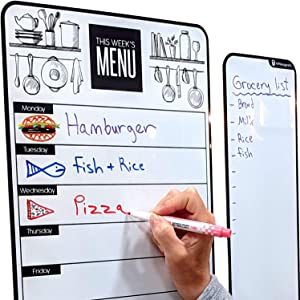 "Cute 10""x16"" Magnetic Dry-Erase Weekly Menu Planner for Kitchen Fridge (with 8 Whiteboard Markers) & Free Bonus - Grocery/to-Do Lists Board - Daily Breakfast/Lunch/Dinner Meal Planner Set for Home"