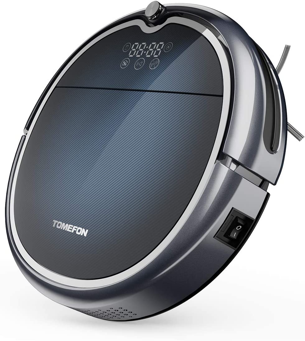 TOMEFON Robotic Vacuum Cleaner with Wi-Fi Connected, Max Power Suction,Self-Charging, Quiet, Robot Vacuum for Hard Floors & Carpets
