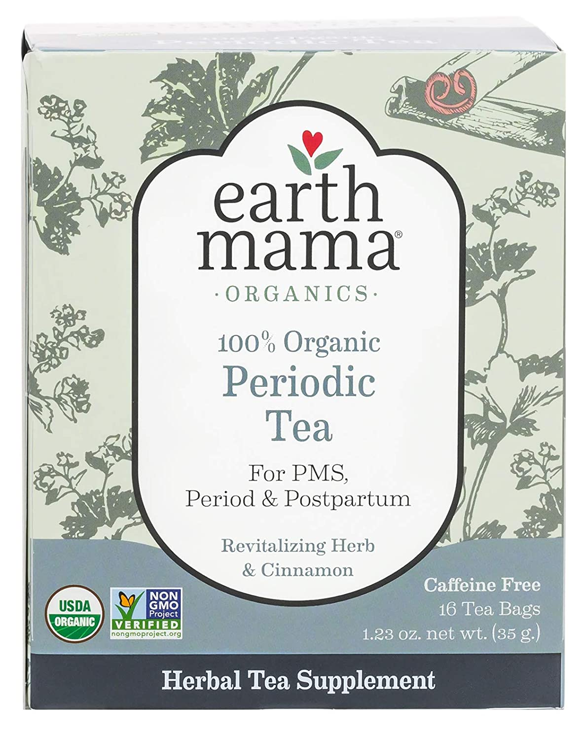 Earth Mama Organic Periodic Tea Bags for Occasional Menstrual Cramps and Postpartum Support, 16-Count Tjernlund Products Inc. 0466607