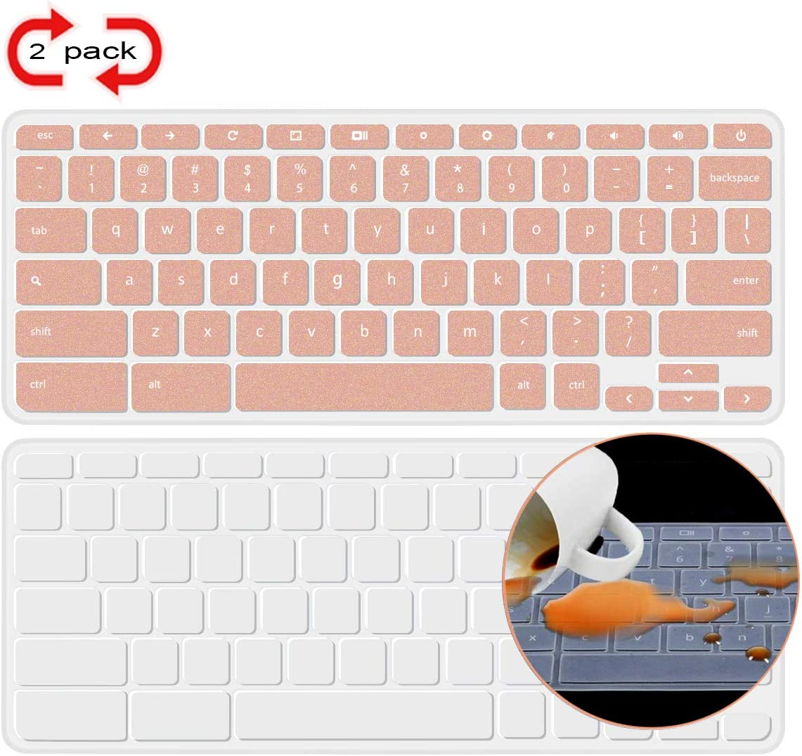 [2 Pack] Lapogy Acer Chromebook 14 Keyboard Cover Skin Compatible Acer Chromebook 14 CB3-431 CP5-471 14-inch, Acer Chromebook Spin 13 CP713,acer chromebook Accessories,Clear+Rosegold