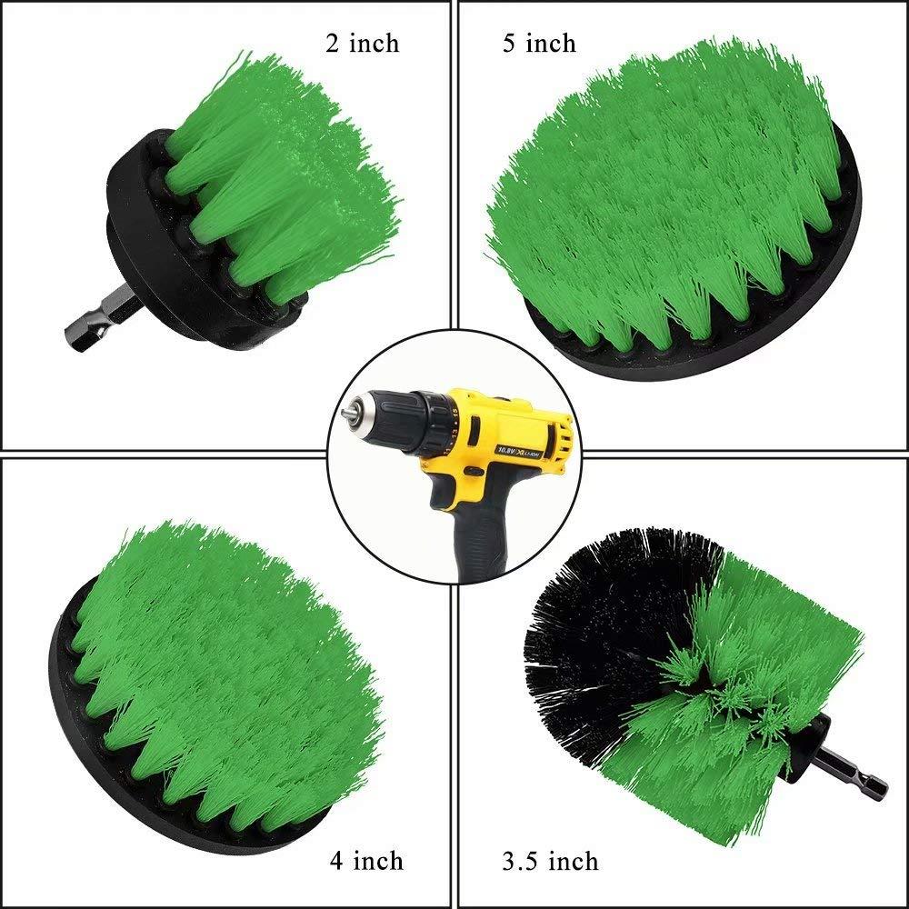 Drill Brush Attachments Set Power Drill Scrub Brush Attachments Drill Scrub Pads For Grout, Tiles, Sinks, Bathtub, Bathroom, Shower & Kitchen Surface Green 11 Piece by Huiaway (Image #2)