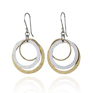 a955749c1 Amazon.com: Two Tone Multi Hoop Dangle Earrings 925 Sterling Silver and 14k  Gold Filled Circles Earring: Jewelry