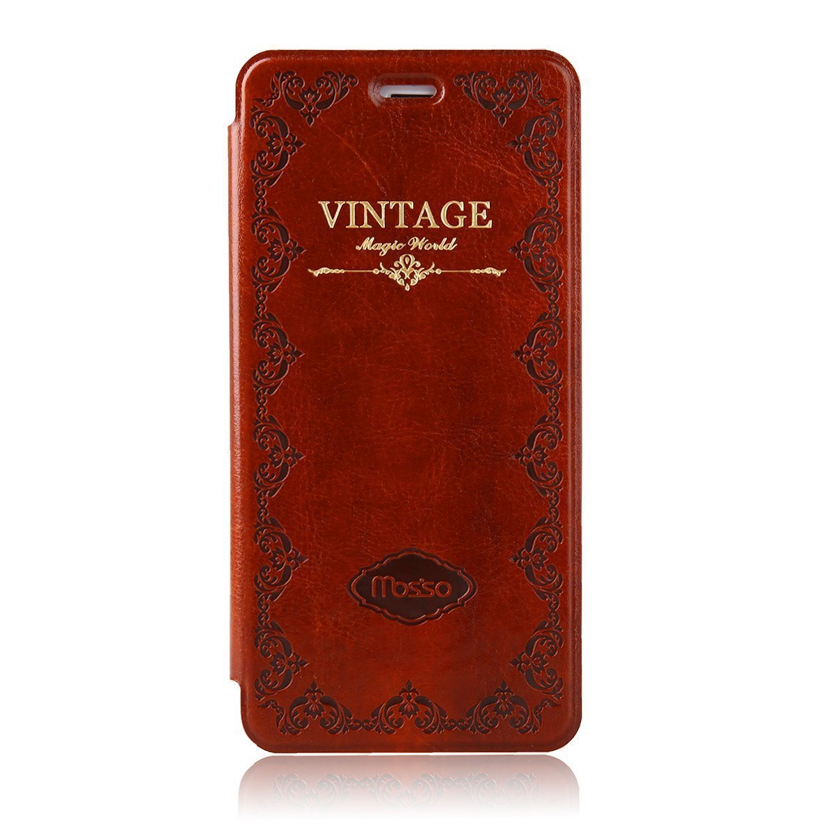HandyGear Classic Vintage Book Style Flip Cover for iPhone 7 Plus Premium PU Leather Stand Case (iPhone 7 Plus Brown) by Handygear