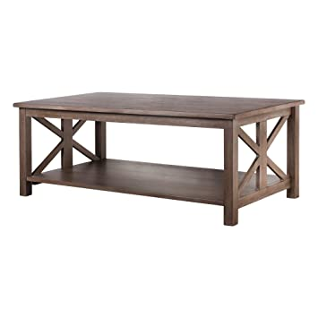 Farmhouse Style Coffee Table: Solid Wood Rustic U2013 Weathered Gray   East End  Collection