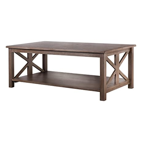 Farmhouse Style Coffee Table Solid Wood Rustic Weathered Gray