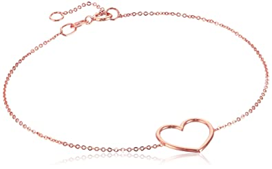 Amazoncom 14k Italian Rose Gold Heart Adjustable Link Bracelet