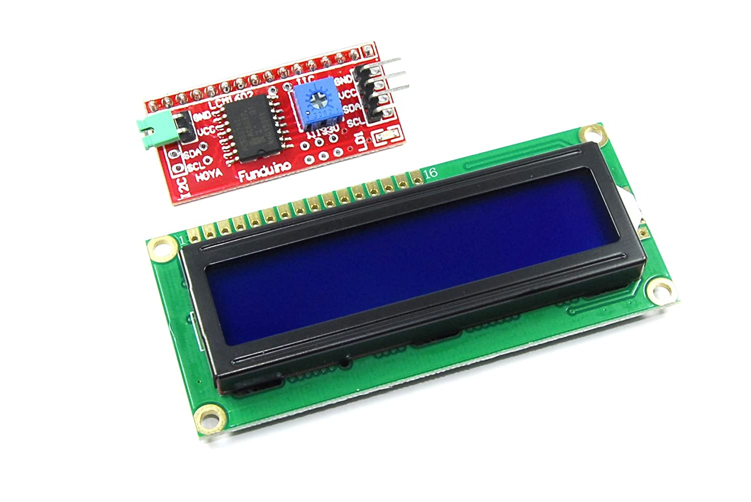 16x2 Blue LCD with Funduino I2C Interface MB-063 1602