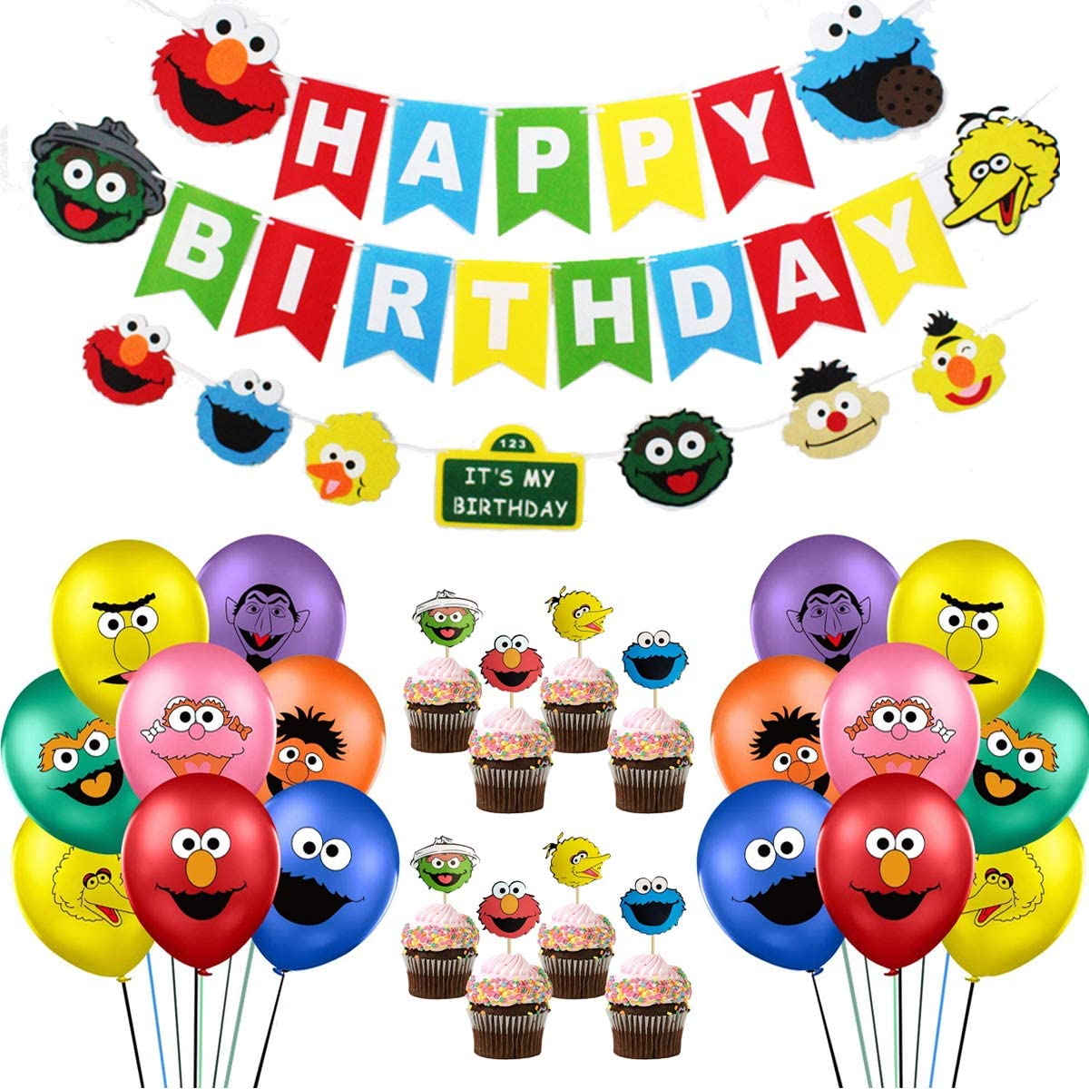 Sesame Birthday Party Supplies, 58Pcs Street Theme Party Decorations Includes Birthday Banner, Sesame Friends Elmo Garland, 24 Cake Toppers, 32 Latex Balloons for Kids Birthday Party, Baby Shower Decor