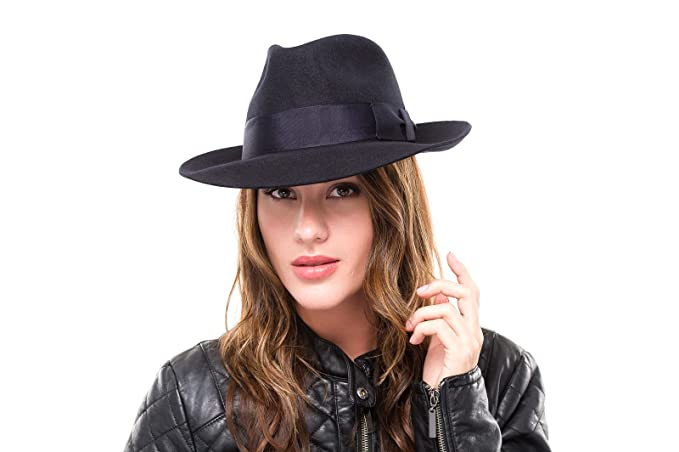 Ladies Wool Fashion Navy Trilby Fedora Hat  Amazon.co.uk  Clothing a1e7d71f8df