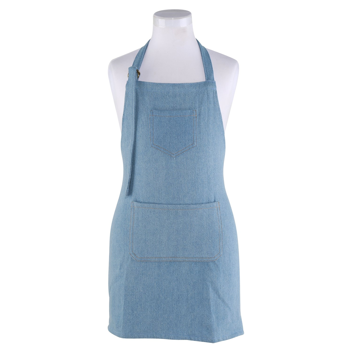 Neoviva Jeans Apron with Pockets for Kid Boys, Solid Skyway Blue