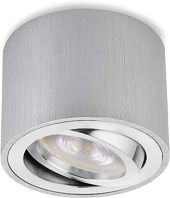 4 Stück LED Aufbaustrahler Aufbauleuchte flach Alu gebürstet GX53 warmweiß 3,5W