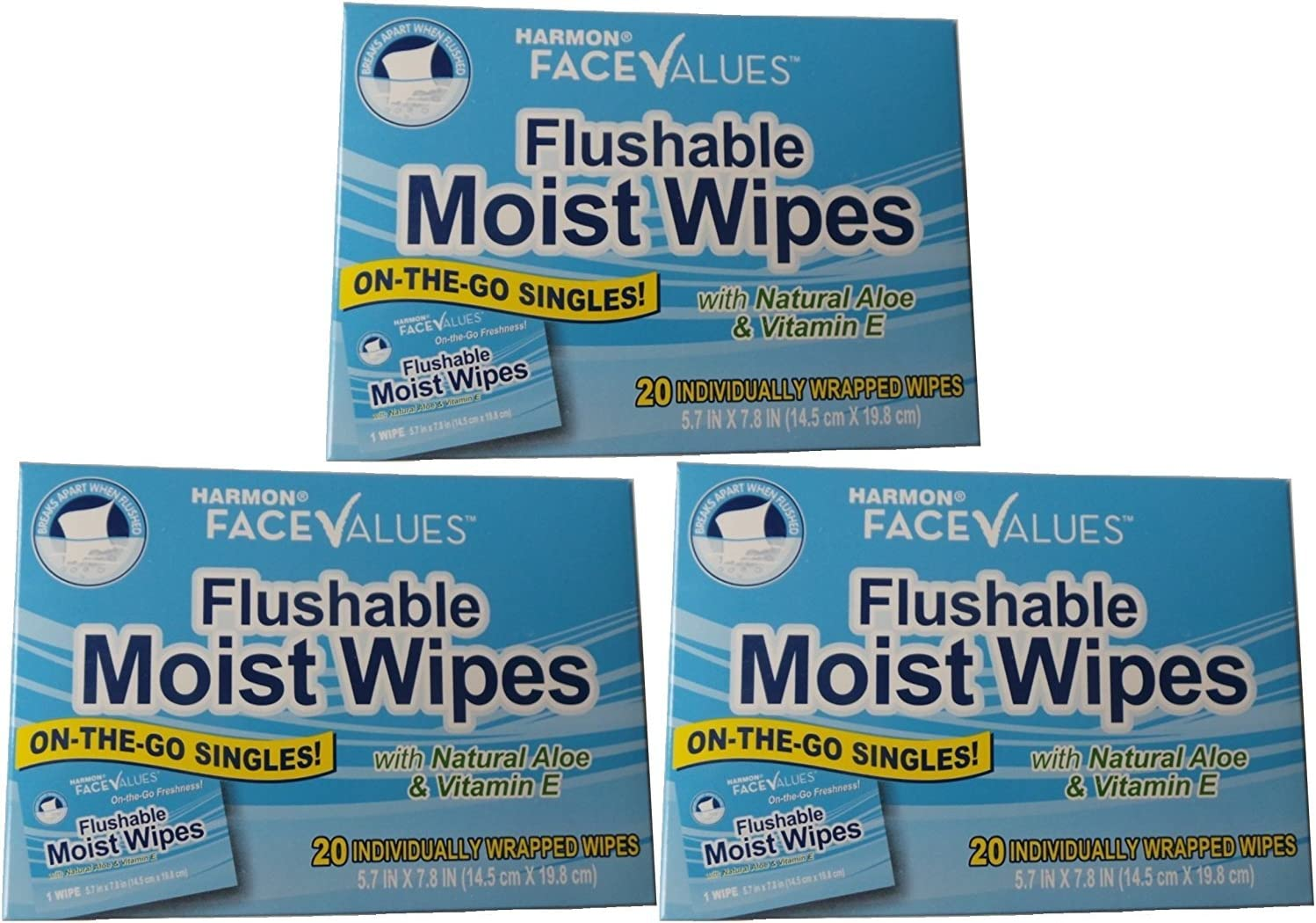 Flushable Moist Wipes Individually Wrapped on the Go Singles with Aloe and Vitamin E, 20 Count (Pack of 3)