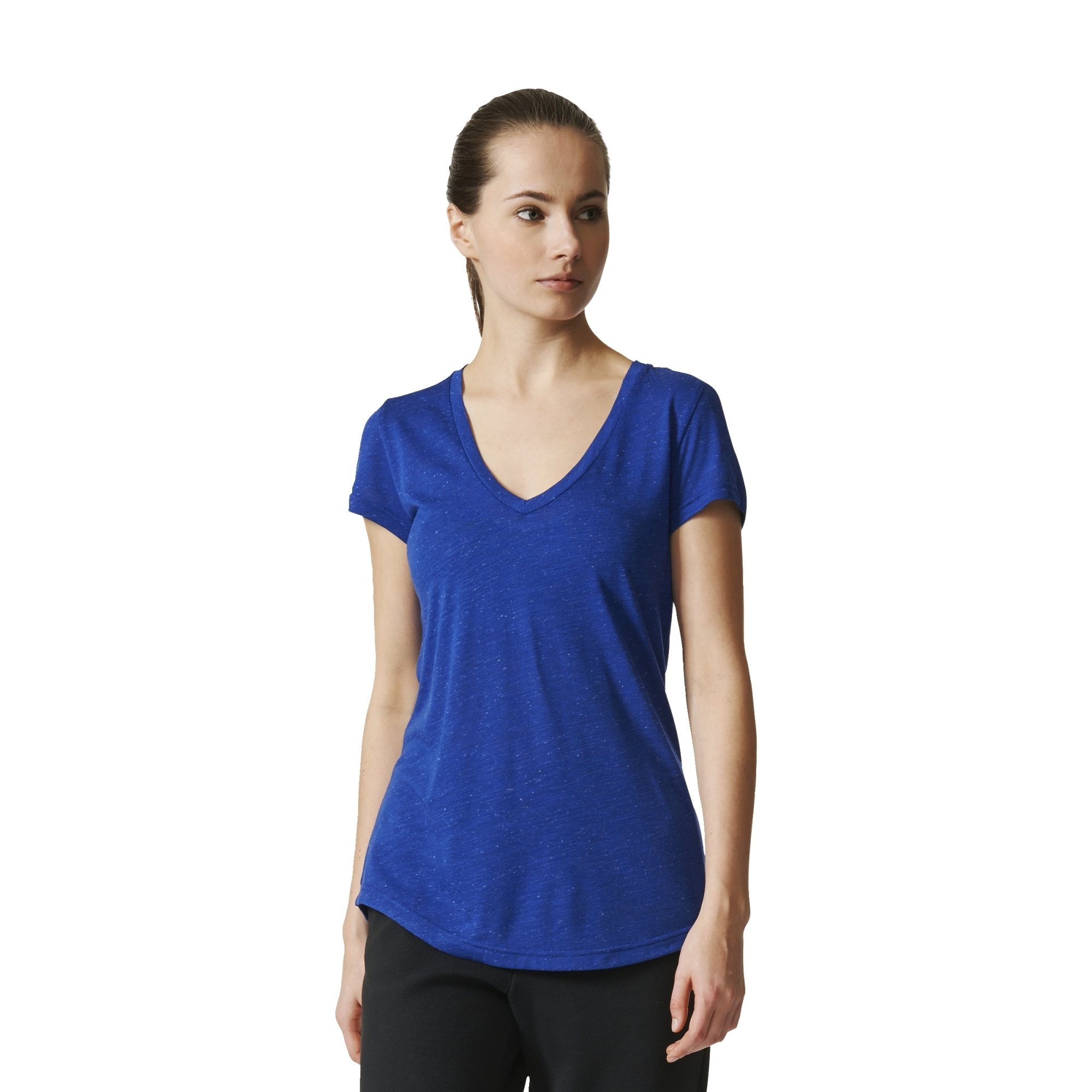 adidas Womens Athletics Graphic V Neck Tee, Mystery Ink, Small