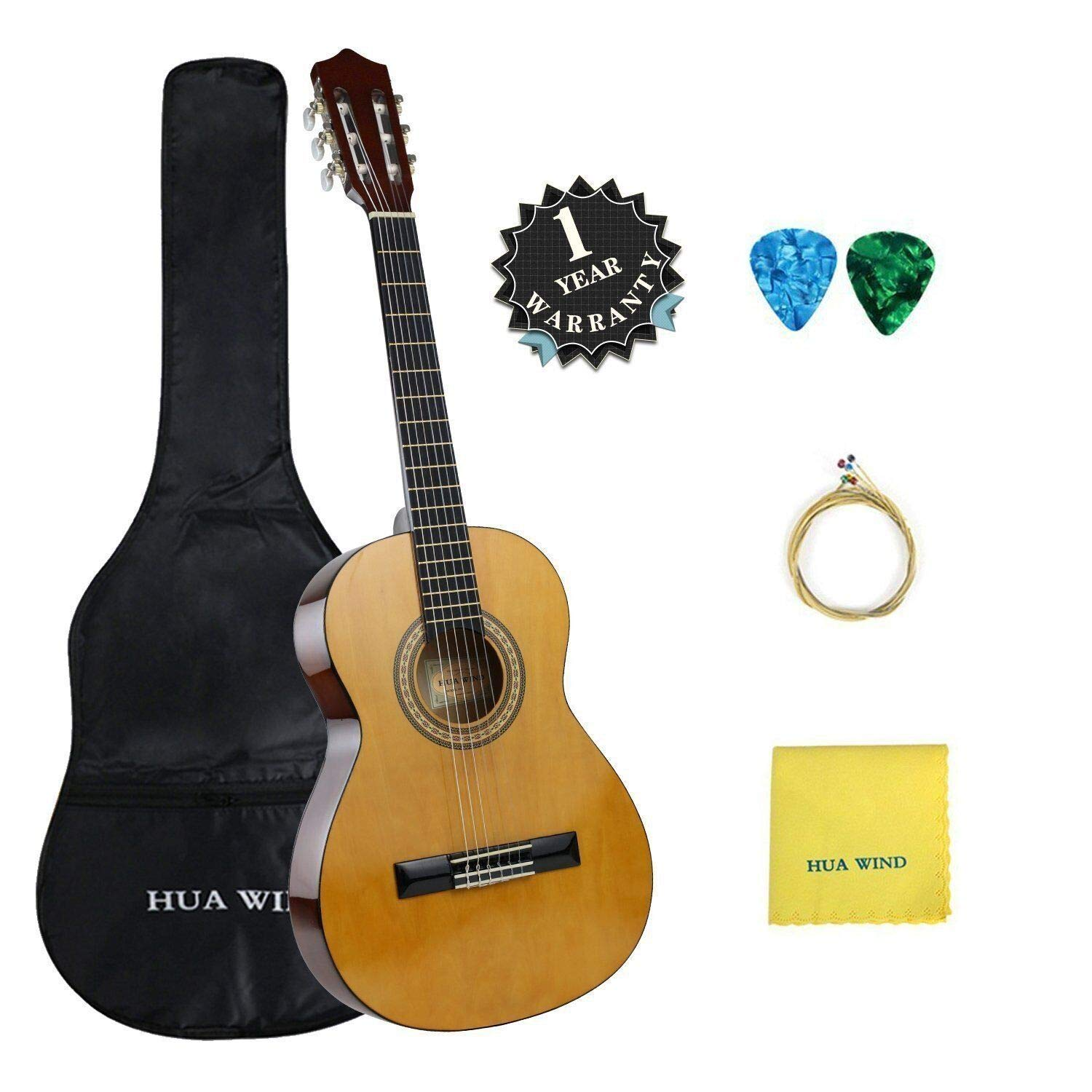 Classical Guitar set HUA WIND 36'' inch 3/4 Size Starter Classical Acoustic Guitar with Gig bag,Picks, Strings, Polishing Cloth (3/4 Size)